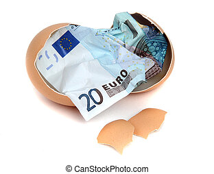 bank note of 20 euro in eggshell