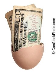 dollar bank notes in egg