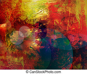 abstract painting in mixed media style