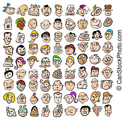 People face expression doodle cartoon icons, happy...