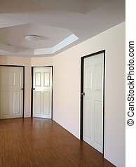 Empty room white color interior with doors.