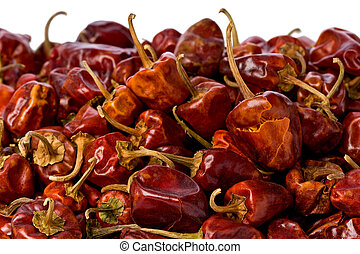 Whole Dried Chilis - Background texture of whole dried...