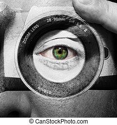 cámara, pintado, macho, cara, verde, ojos