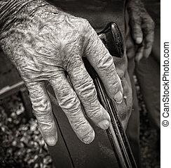 mão, antigas, homem, artrite