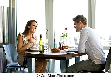 Couple Enjoying a Romantic Dinner for Two - Portrait of a...