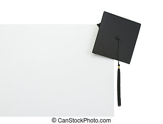 Graduation cap on blank billboard