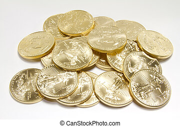 Pile of Pure Gold Coins - A pile of pure gold United States...