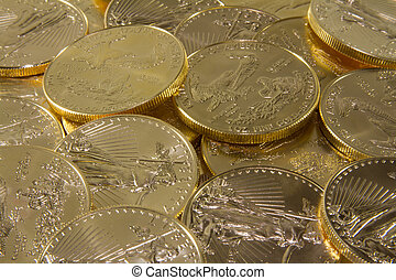Pure Gold Coins-Closeup - A pile of pure gold United States...