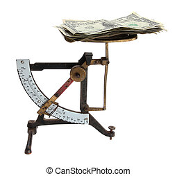 old letter scales with money