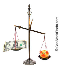 pharmacist scales with money and piggybank