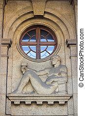 Building facade with relief in Zagreb, Croatia