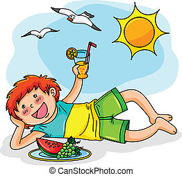 summer vacation - kid enjoying summer with fresh fruit and...