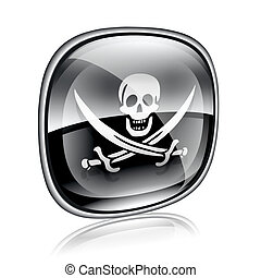 Pirate icon black glass, isolated on white background.