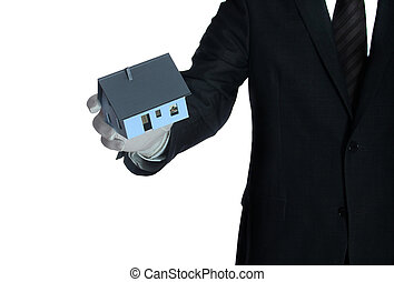 salesclerk with house in his hand