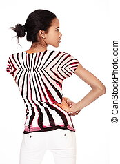 back of fashion  stylish smiling casual young female beautiful black american girl agaist white background