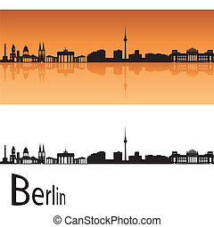 Berlin skyline in orange background in editable vector file