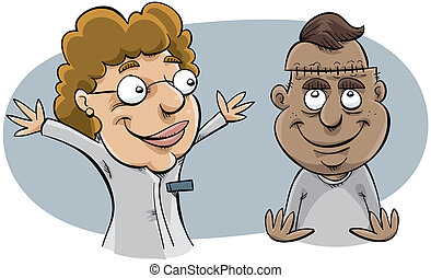 Surgery Success - A cartoon doctor celebrates a patients...