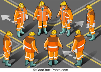 Isometric foreman in eight position - Detailed illustration...