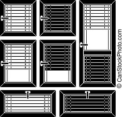 vector venetian blind window black symbols