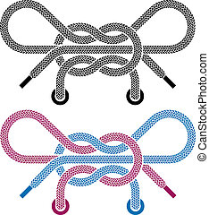 vector shoe lace knot symbols