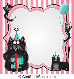 Kitty cat birthday party invitation - Funky and fuzzy kitty...