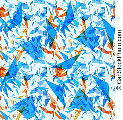 Abstract seamless pattern with blue and orange particles...