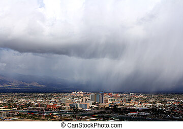 Tucson on a rainy day - A cloud burst over Tucson Arizona