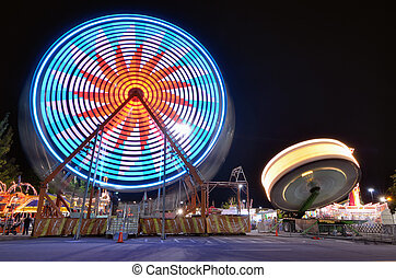 County Fair - Rides at a local fair at night