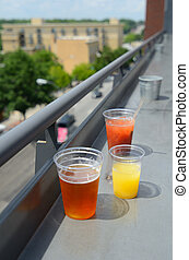 Drinks - Various drinks on a rooftop bar