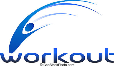Workout swoosh logo - People workout swoosh logo