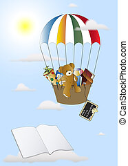 First schoolday - Teddy in a balloon with books