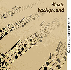 Abstract music background on old paper Vector illustration