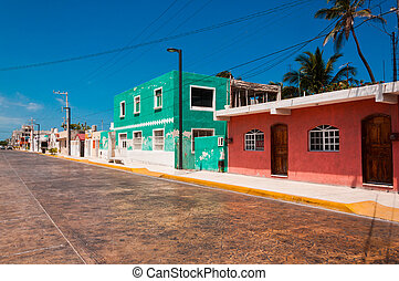 Colorful street in town of Progreso Yucatan Mexico -...