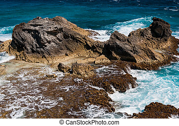 Rocky formation on the Caribbean shore in Mexico