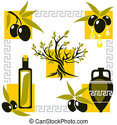 greece olive - set vector image of olive and olive oil