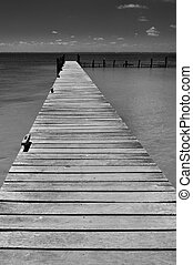Lonely wooden pier on Isla Mujeres Caribbean Mexico