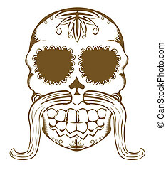 Vector illustration of sugar skull with mustaches - Vector...