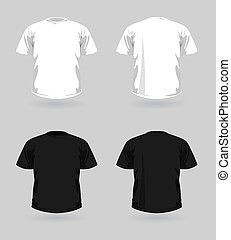 Vector set of t-shirts - Vector set of white and black...