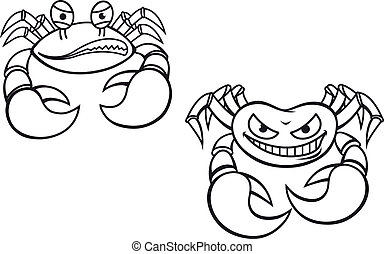 Cartoon crabs - Danger cartoon crabs with big claws for...