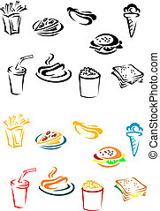 Fast food elements set in color and w/b variations