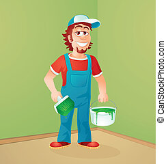 the house painter, character design and vector illustration