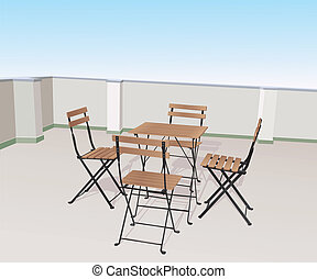 chairs on terrace - four chairs and a table on terrace....
