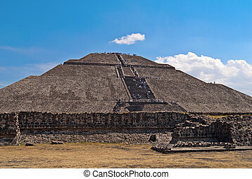 Pyramid of the Sun in the city of Teotihuacan in Mexico