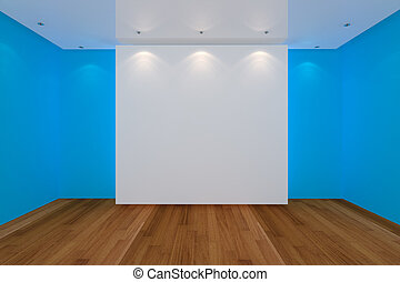 empty room blue wall and wood floor