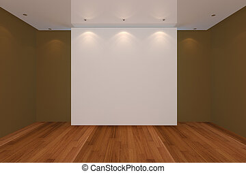 empty room color wall and wood floor