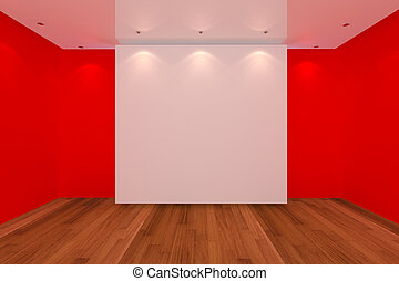 empty room red wall and wood floor