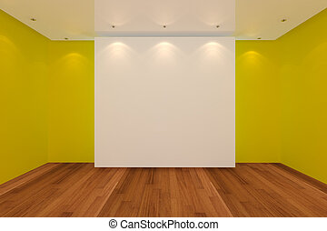 empty room yellow wall and wood floor