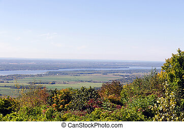 Fall landscape - Gatineau plateau and Ottawa river valley in...