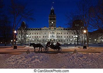 Quebec parliament building in winter night time