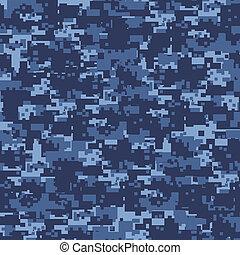 militar, azul, camuflaje, seamless, patrón